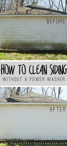 How to Clean Siding Without a Powerwasher - you can also spray the tougher-to-reach porch railing, soffit, downspouts, etc. with the cleaning solution, then scrub. This is a great way to boost your home's curb appeal - via Bigger Than the Three of Us