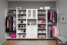 "This wall mounted closet organizer keeps the floor clear and features 2"" thick vertical panels for a more substantial look.  Notice how the shelves and drawers are slightly inset.  Available from Organized Hawaii."