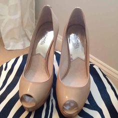 Michael Kors nude patent leather pumps In new condition! Michael Kors Shoes Platforms