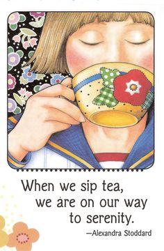 SIP Tea on Way to Serenity Kitchen Refrigerator Magnet Mary Engelbreit Artwork Mary Engelbreit, Tea And Crumpets, Tea Quotes, Afternoon Tea Parties, Cuppa Tea, Tea Cozy, Christmas Tea, Tea Art, My Cup Of Tea