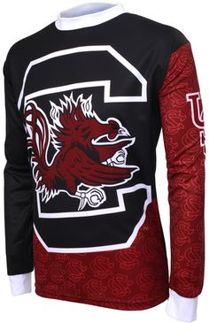 Taunt your opponents as you hit the trails or head to the bleachers to REPRESENT WHILE YOU PLAY in this officially licensed garment from Adrenaline Promotions. Mountain Bike Jerseys, South Carolina Gamecocks, Christmas Sweaters, Cycling, Football, Sweatshirts, How To Wear, Jackets, Outfits