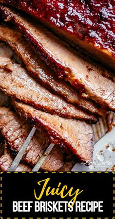Juicy beef brisket cooked low and slow until tender, basted in a mouthwatering barbecue sauce with a kick of garlic and optional heat! Filled with amazing flavour, this beef brisket recipe is deliciously easy to prepare. Rubbed with the best dry rub and smothered in a mouthwatering barbecue sauce, this is the stuff food dreams are made of. #beefbrisket #beefbrisketrecipe #beefrecipe #brisketrecipe #bbqbeefbrisket #beefbrisketbbq