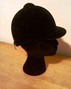 Vintage Black Velvet Equestrian Horse Riding Hat Helmet English Style Size Med #Unbranded