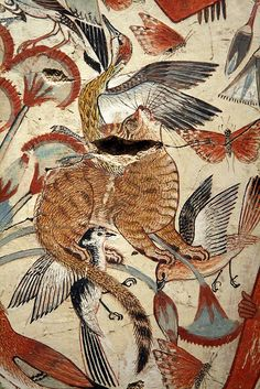 Egyptian cat hunting in the marshes   A tawny cat catches birds among the papyrus stems. Cats were family pets in ancient Egypt, and at palaces and revered ast Bast. The cat shown here could also represent the Sun-god hunting the enemies of light and order. The Tomb-chapel of Nebamun  Thebes, Egypt. Late 18th Dynasty, around 1350 BCE.