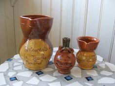 Instant collection 3 Souvenir Pottery Pitchers Jugs Madrid Segovia Algeciras by lookonmytreasures on Etsy
