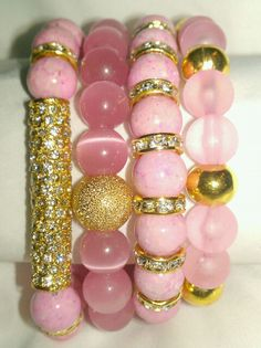 N'Genious Creations - PINK GEMSTONE BRACELET SET (GOLD TONE), $45.00 (http://www.ngeniouscreations.com/pink-gemstone-bracelet-set-gold-tone/)