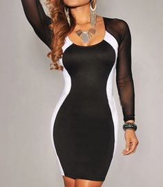 Sexy U Neck Color Matching Long Sleeves Women's Bodycon Dress | TwinkleDeals.com