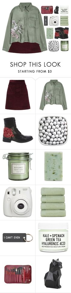 """"""" Live and learn from fools and from sages. """" by centurythe ❤ liked on Polyvore featuring A.P.C., H&M, Steve Madden, Meraki, Fujifilm, Various Projects, Youth To The People, Hot Topic and kitchen"""