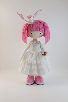 Doll Pink Rabbit pink and white pink doll by DollsLittleAngels