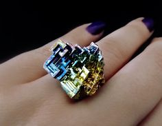 Heavens Architect  Gorgeous one of a kind, very rare Bismuth crystal, welded to a stainless steel ring base that I will make in your