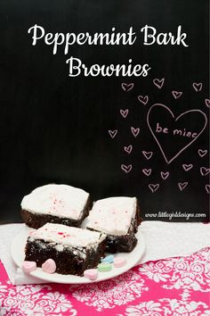 Delicious Peppermint Bark Brownie recipe @littlegirldesigns.com. You won't believe how easy it is to make these! Yum!