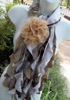 Upcycled Ruffled Camoflauge T-Shirt Scarf. Camo Scarf, Diy Scarf, Country Girl Style, Country Girls, Country Fashion, Camo Shoes, Shabby Fabrics, Camo Outfits, Recycled T Shirts