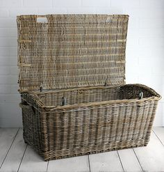 Large Wicker English Travel Trunk Made in France c. early 1900's from Zinnia Cottage