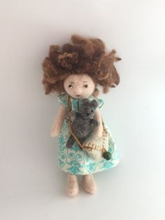 Bella,the needle-felted doll with a teddy bear by PerinBaba on Etsy