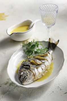'Tsipoura' Fish served with olive oil, lemon and garlic