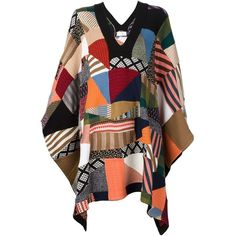 Chloé patchwork poncho ($1,760) ❤ liked on Polyvore featuring outerwear and multicolor