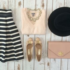 Navy and white striped skirt, blush vneck sweater, statement necklace, wool hat, bow flats and Tory burch handbag Classy Outfits, Fall Outfits, Cute Outfits, Preppy Style, Style Me, Petite Fashion, Womens Fashion, Stylish Petite, Girly
