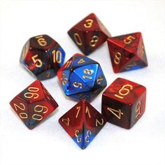 Gemini Blue-Red w/gold Dice (Superman Dice)