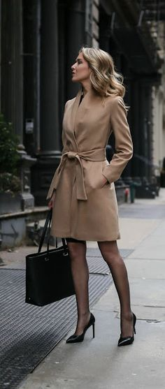 Just a pretty style | Latest fashion trends: Chic look | Sheer tights, heels and neutral belted coat dress