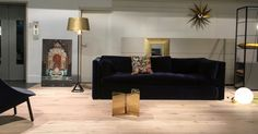 HAY Hackney Sofa in combination with HAY Slit Table, HAY Uchiwa Chair, Tom Dixon Base Brass Lamp, Flos CopyCat Lamp (Michael Anastassiades) & Vitra Turbine Clock (George Nelson)