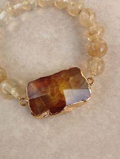 Agate and Quartz Bracelet on Etsy, $24.00