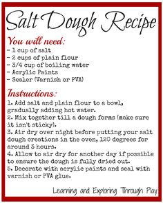 Salt Dough Recipe, quick and simple salt dough. Easy salt dough recipe. Arts and crafts.