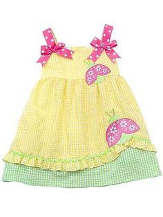 Rare Editions Girls 2T-6x Yellow Pink Ladybug Applique Seersucker Dress