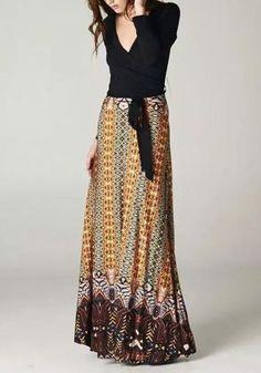 MalangFashion Black Floral Print V-neck Long Sleeve Vintage Maxi Dress