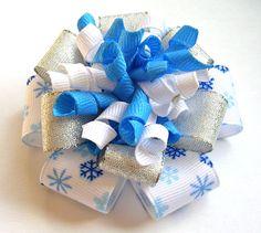Winter Snowflake Hair Bow  Flower Loop Korker  by simpledesign816, $5.50