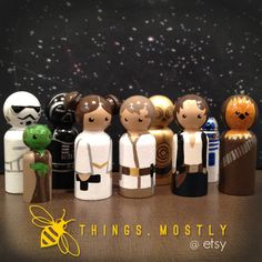 9 Star Wars Inspired Peg Doll People Set with by thingsmostly