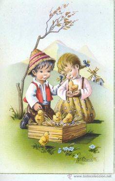POSTAL INFANTIL - DE C Y Z 509-B NIÑOS CON UNOS POLLITOS (Postales - Dibujos y Caricaturas) Cute Images, Cute Pictures, Easter Illustration, Easter Garland, Fairy Crafts, Easter Pictures, Old Cards, Vintage Easter, Vintage Cards
