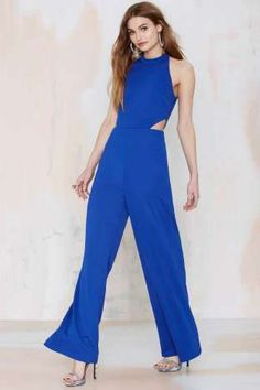 Nasty Gal Jeslina Cutout Jumpsuit - Blue | Shop Clothes at Nasty Gal!