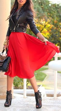 Red Chiffon Skirt, Motto Jacket & Biker Boots ♥ L.O.V.E.