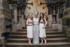 silver sequined bride's dress + gold detailed bridesmaids dresses