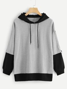Color Block Drawstring Hooded Sweatshirt Women Casual Autumn New Style Grey Pullovers Spring Sporty Long Sleeve Hoodie Gray XL Fashion Mode, Grey Fashion, Fashion Outfits, Fashion Styles, Tomboy Outfits, Emo Outfits, Trendy Hoodies, Kawaii Clothes, Diy Clothes