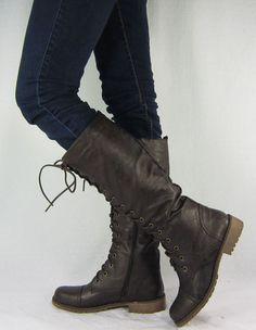 Womens Lace Up Zipper Military Combat Flat Knee High Boots Black Sz 5 5 10 | eBay
