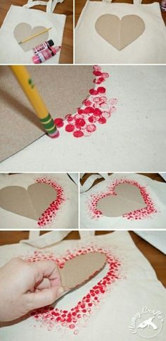 DIY Tote Bag - Make This Fabulous Heart Tote Bag with a Pencil!, DIY Tote Bag - Make This Fabulous Heart Tote Bag with a Pencil! Easy DIY Tote bag from Clumsy Crafter for Valentine& day. Unique Valentines Day Gifts, Valentine Day Crafts, Be My Valentine, Holiday Crafts, Kids Valentines, Valentine Ideas, Homemade Valentines Day Cards, Mothers Day Crafts, Christmas Gifts