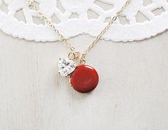Diamond Heart Shaped Charm and Enamel Locket by TheBloomingThread