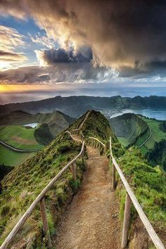 Trail at Sete Cidades Crater on Sao Miguel Island in Portugal.