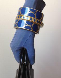 Navy blue bold modern geometric bangle bracelet by Chauci Charvet