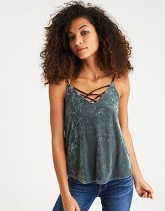 801e8d968fdc6 American Eagle Outfitters AE Strappy Velvet Cami Velvet Cami, Mens  Outfitters, American Eagle Outfitters