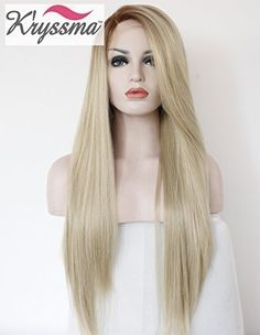 K'ryssma Women's Ombre Blonde Brown Roots Long Synthetic Lace Front Wigs Soft Straight Hair Realistic Full Wig Half Hand Tied Heat Resistant Fiber 22 inch