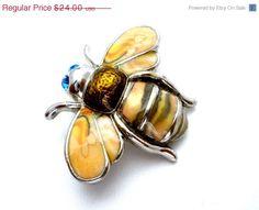 Sale Bumble Bee Brooch Landau Vintage Yellow Jacket Pin