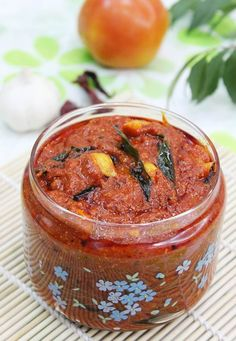 andhra tomato pickle recipe with step by step photos. we call this as nilava tomato pachadi, not a traditional one but a quick recipe to makes yummy pickle Veg Recipes, Indian Food Recipes, Vegetarian Recipes, Cooking Recipes, Recipies, Indian Foods, African Recipes, Tomato Pickle Recipe, Indian Pickle Recipe