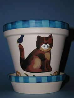 clay pots,yard and garden, handpainted, lee wismer, decorative painting: such beautiful pots!