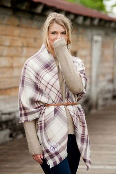 "Wrap yourself in the warmth of these cozy, oversized monogrammed blanket scarves. Choose from 6 pattern and colors including such options as plaid, houndstooth, or black. Have three initials custom embroidered in the corner of your scarf in your choice of lettering style and thread color. These scarves are the perfect accessory to add to your gift list. Scarves measure 57"" long x 57"" wide. To order, visit http://www.tippytoad.com/monogrammed-blanket-scarves.asp"