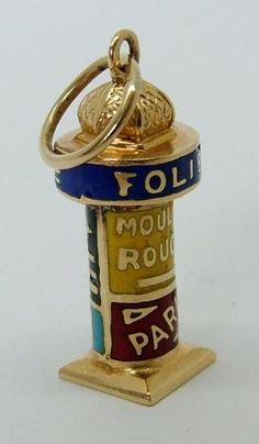 1940's French 18ct 18k Gold & Enamel Advertising Column Charm - Gold Charm - Sandy's Vintage Charms - 1