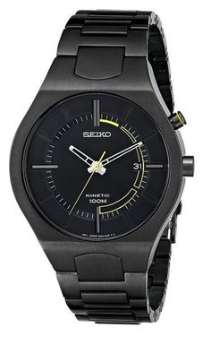 Seiko SKA649 Men's Watch Modern Dial Kinetic With Black-ION Stainless Steel Band…