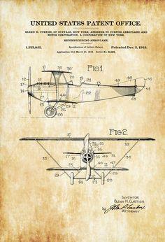 Curtiss 1919 Reconnaissance Biplane Patent - Airplane Blueprint Vintage Aviation Airplane Art Pilot Gift Aircraft Decor Airplane Poster by PatentsAsPrints: