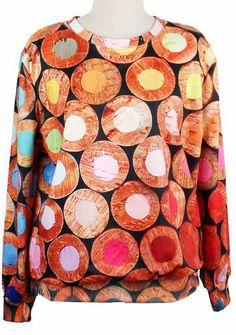 Yellow Long Sleeve Circle Print Loose Sweatshirt - Fashion Clothing, Latest Street Fashion At Abaday.com